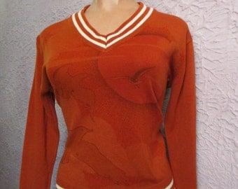 70's Vintage Seagull Sunset Airbrush Art  Sweater med/Lg
