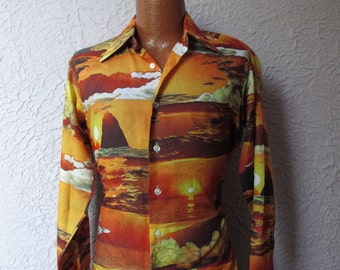 70's Vintage Men's Photo Print Sunset Beach Disco Shirt med