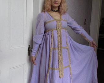 60s Gunne Sax Fairy Hearts Hippie  Maxi Dress Black Label