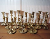 16 Brass Candlesticks, Round Base Wedding, Staging, Home Decor, Regency, Photo Prop, BR1500 FREE SHIPPING
