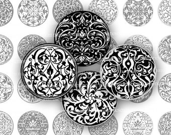 Medieval Black and White Circles Pattern Renaissance Designs for Decoupage Paper Scrapbooking DIY Magnets Handles Knobs Jewelry br 799