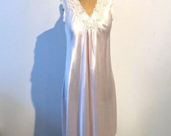 ON SALE Vintage Christian Dior pale pink satin and lace night dress, designer lingerie, 1970s Dior pink satin lingerie