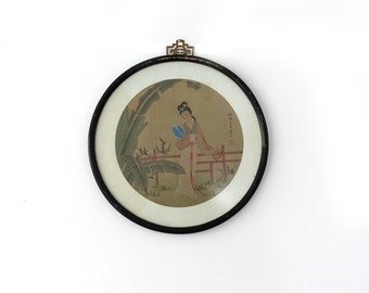 Vintage Chinese round framed traditional silk painting of maiden in garden