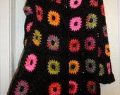 Crochet granny square hippie boho bohemian 1960-s black kaleidoscope coat cardigan with multicolour flowers OOAK