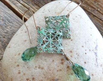 Boho Mint Filigree Crystal Wirewrapped Dangle Earrings