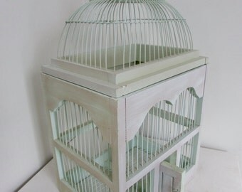 Vintage Mint Green Bird Cage Bohemian Decor Garden Terrarium