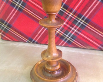 Hand made vintage turned wood rustic candlestick