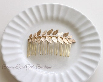 Gold Leaf Hair Comb, Gold Leaf Branch Hair Comb, Gold Leaf Bridal Comb, Gold Leaf Clip, Grecian Bridal Comb, Gold Branch Comb