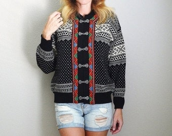 July SALE - 15% Off - Vintage Norwegian Fair Isle Black White Red Wool Cardigan Sweater // womens xsmall small