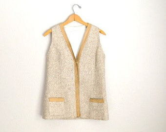 Vintage 70s Tan Tweed Wool and Suede Long Classic Vest // womens small