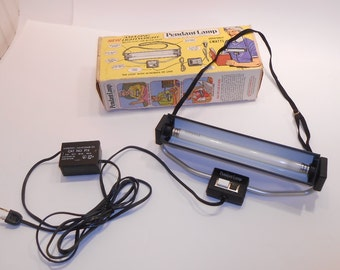 Vintage Aqua Survey & Instrument Fluorescent Pendant-Lamp Necklace Light, Original Box, Made in USA