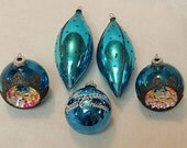 5 Vintage Large Mercury Glass Ornaments.. Turquoise Aqua Glitter Indents & Teardrops