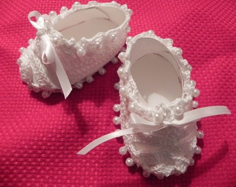 Loops~n~Pearls Baby Booties Hand crocheted sizes 0-6 months