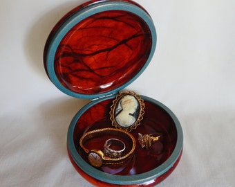 Genuine Alabaster Jewelry/Trinket Box Hand Carved in Italy