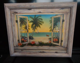 Tropical Painting Dog Art Dog Painting Vacation Art Palm Trees Sailboat Beach Cottage Wall Decor
