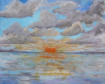 Original Painting Sunset Beach Abstract Impressionist Lake Erie Seascape Nautical Acrylic Clouds Ocean Canvas Fine Art Beach decor Wall art