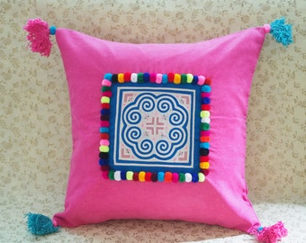 Embroidered Ethnic Cushion, Pink Hmong Pillow Cover, Tribal pillow case, Velvet Hmong Cushion 16 inch, Boho Cushion cover, Thai cushion