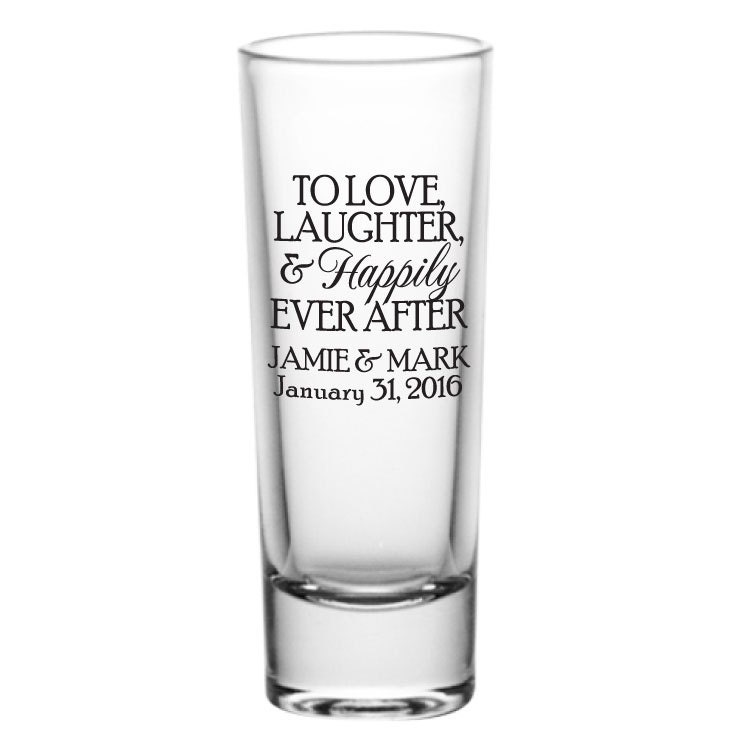 personalized 2oz tall glass shot glasses wedding favors to