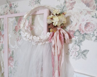 shabby chic style vintage wedding veil wreath vintage silk ribbon millinary flowers