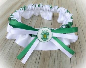 Soccer Inspired White & Green Satin Wedding Bridal Keepsake Or Garter Set Football Sports Garter
