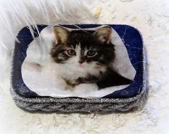 Kitten, Altered Altoid Tin Box, Keepsake Box, Treasure Box, Memory Box, Cat Treat Box, Stocking Stuffer, Coin Purse, Credit Card Case