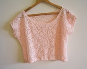Light Pink Floral Mesh Lace Crop Top - Size Small