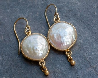 Coin Pearl Earrings - White Pearl Earrings - Drop Earrings - Bridal Earrings - Bridesmaid Jewelry - Gold Earrings