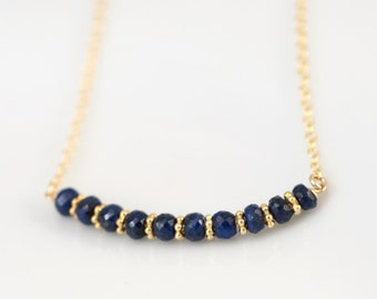 Blue Sapphire Necklace - September Birthstone Choker - Bridesmaids Gift - Gold Necklace - Minimalist Choker