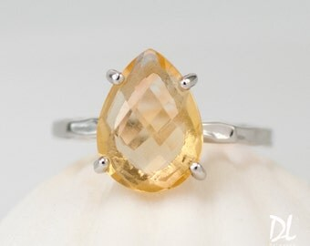 Yellow Citrine Ring Silver - November Birthstone Ring - Solitaire Ring - Stacking Ring - Silver Ring - Tear Drop Ring - Prong Ring