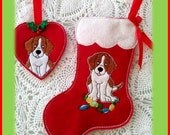 In The Hoop Beagle Stocking and Ornament Embroidery Machine Design Set