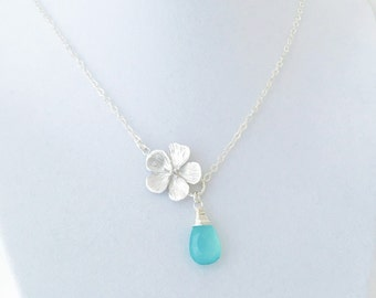 Silver Cherry Blossom Flower Necklace, Aqua Chalcedony, Sterling Silver Chain, Gift for Her