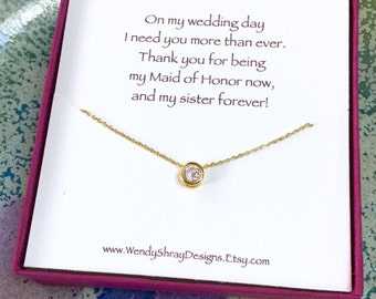 Floating diamond gold necklace, 6mm solitaire CZ bezel, bridesmaid, maid of honor gift, layering necklace, everyday minimalist jewelry N205