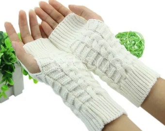 White arm warmers fingerless gloves