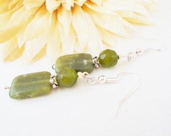 Green Jade Earrings, Olive Green Earrings, Beaded Earrings, Clip On Earrings, Hypoallergenic, Czech Glass Earrings, Bohemian Drop Earrings