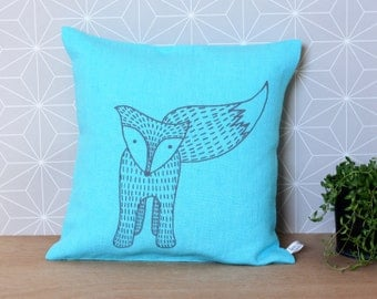 Blue Linen Fox pillow - Ready to Ship