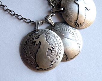 Sterling Hare Totem Necklace - Folklore Series    - Ancient Coins