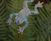 Spring Sale 10% Leaping Frog sculpture garden stake