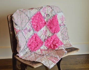 Baby Rag Quilt Pink Parisian-FREE SHIPPING
