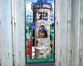 Castle Tower Tapestry, Medieval Dollhouse Miniature 1/12 Scale, Hand Made