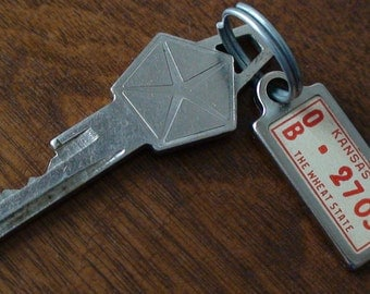 1955 Chrysler Ignition Key with Key Chain County License Plate Miniature