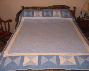 Light Blue Calico Print Throw Quilt