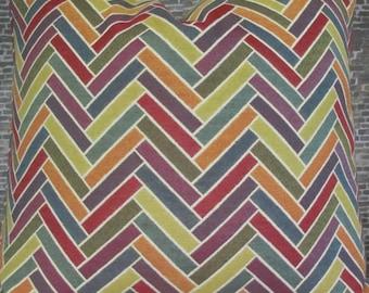 SALE Designer Pillow Cover - 18 x 18 - Herringbone Sticks Multi Jacquard