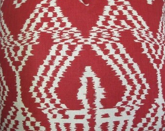 F. Schumacher Fabric 16 x 16, 18 x 18, 20 x 20, 22 x 22, Euro Pillow Cover Asaka Ikat Red