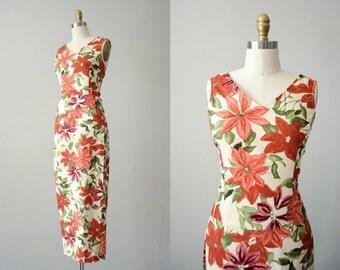 vintage linen skirt and shirt set / floral print maxi set / size medium