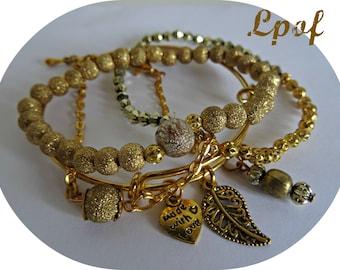 Boho Bracelet Bangle Stacking Bracelet Charm Bracelet Beaded Bracelet Womens bangle Gold Bracelet Bracelet Set Boho Bracelet - Gold