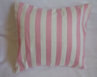 """Pink and White Stripe 16 x16"""" Pillow Cover"""