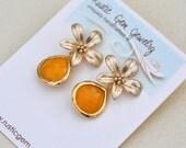 SALE - Mustard Stone and Flower Post Earrings. Bridesmaid Earrings. Drop Earrings. Gold Fashion Earring..