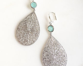 Silver Teardrop Dangle Earrings with Aqua Blue Jewels. Large Silver Dangle Earrings.  Statement Jewelry.  Gift for Her.