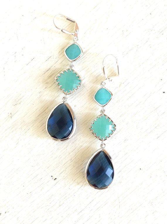 Wedding Jewelry. Shades of Blue Dangle Earrings. Long Navy, Turquoise, and Aqua Earrings in Silver. Beach Wedding Jewelry.