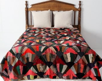 antique fan quilt, winter blanket
